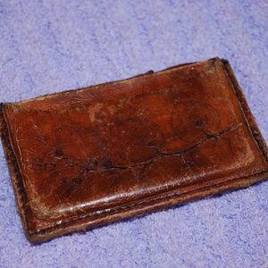 Handbags - Leather Leaf Imprint Card Holder Wallet
